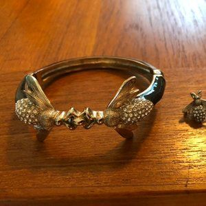 Talbots Bee Cuff Bracelet and Earrings